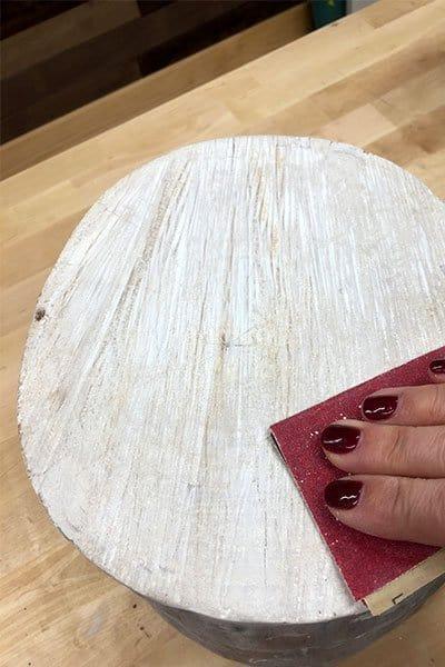 Painting an easy DIY stump stool